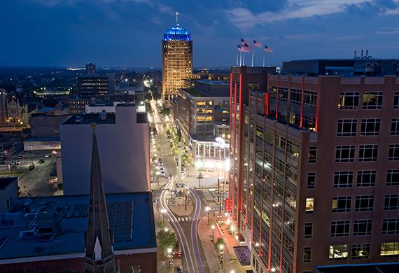 Downtown Allentown at night